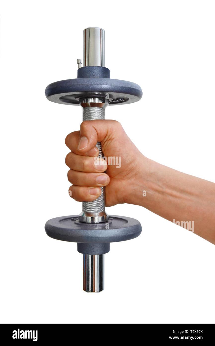 Le geste, l'homme avec la formation de poids Photo Stock