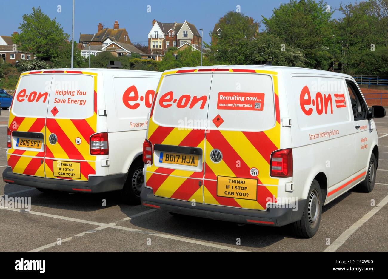 E.on, E.ON. L'électricité, le fournisseur, UK, van, véhicule Photo Stock