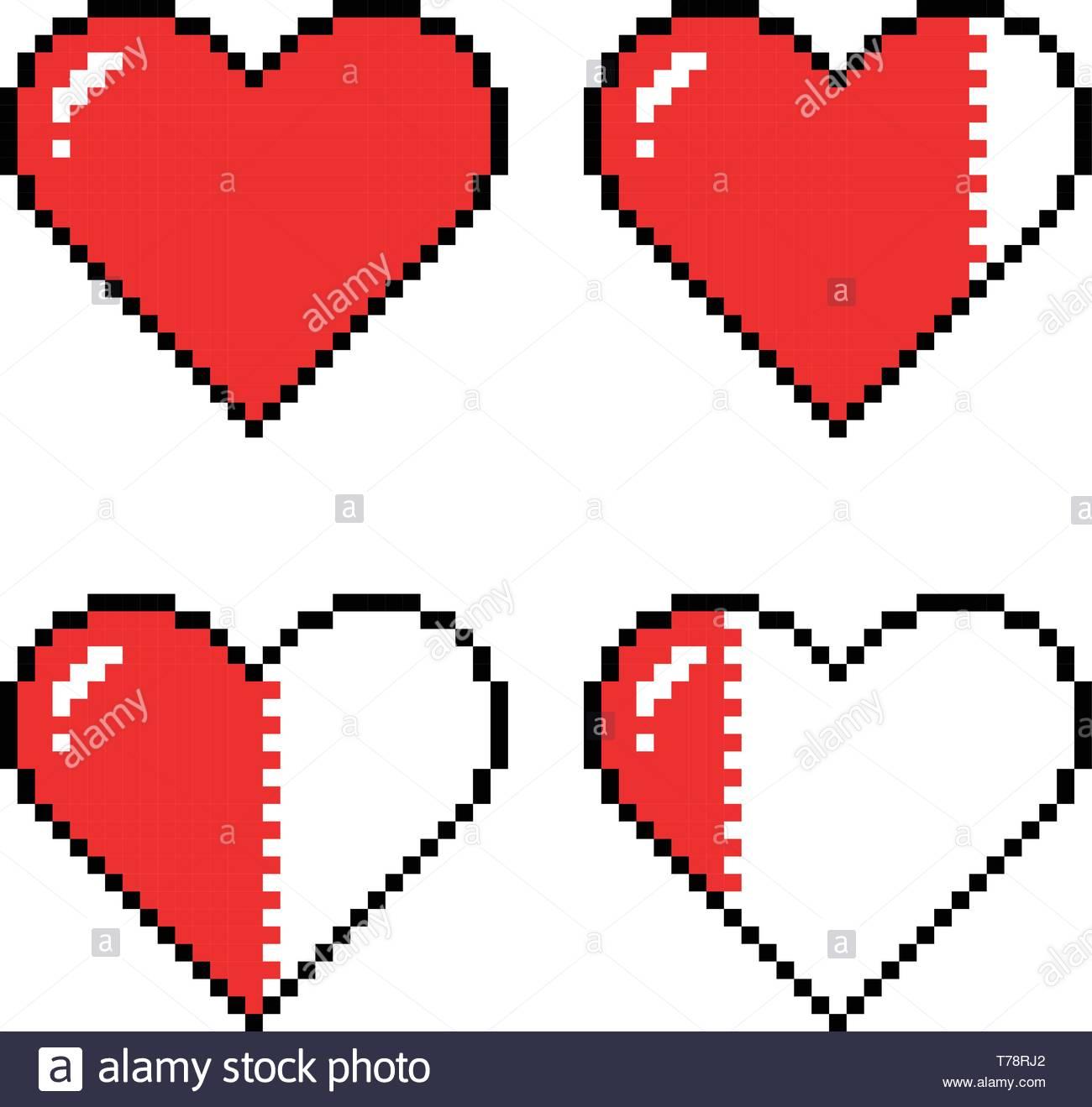 Pixel Art Coeurs Pour Jeu Différents Indicateurs De Santé