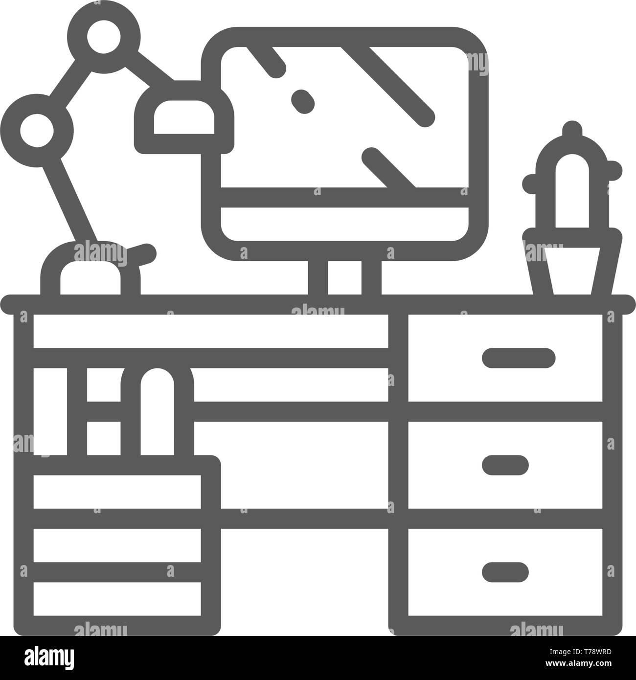 Lieu de travail, bureau avec ordinateur et l'icône de la ligne de feu. Illustration de Vecteur
