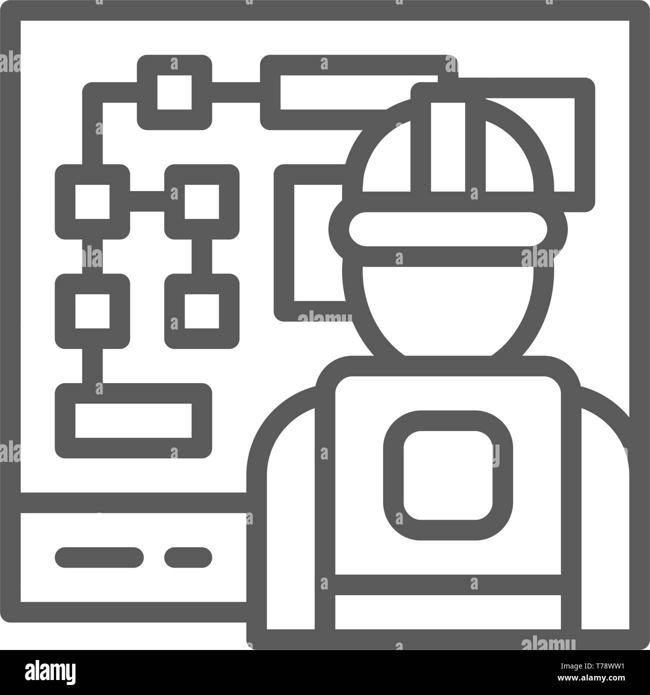 Ingénieur au travail, l'icône de la ligne du conseil de gestion électrique. Illustration de Vecteur