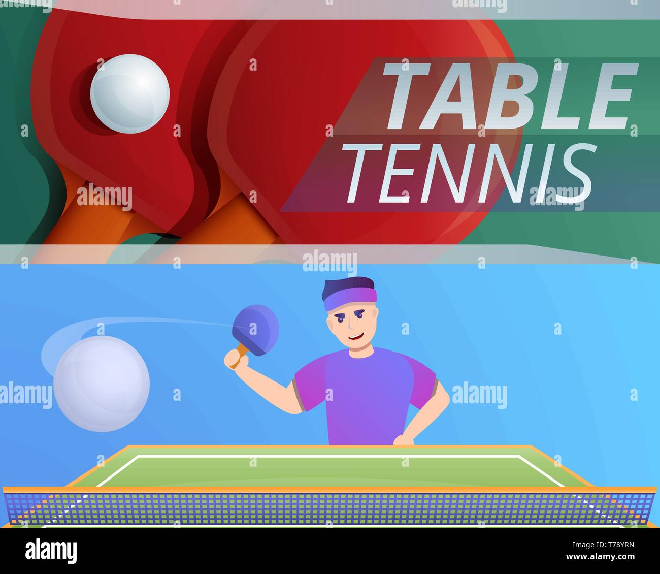 Tennis de table jeu de bannières. Cartoon vector illustration de tennis de table pour mettre la bannière web design Illustration de Vecteur