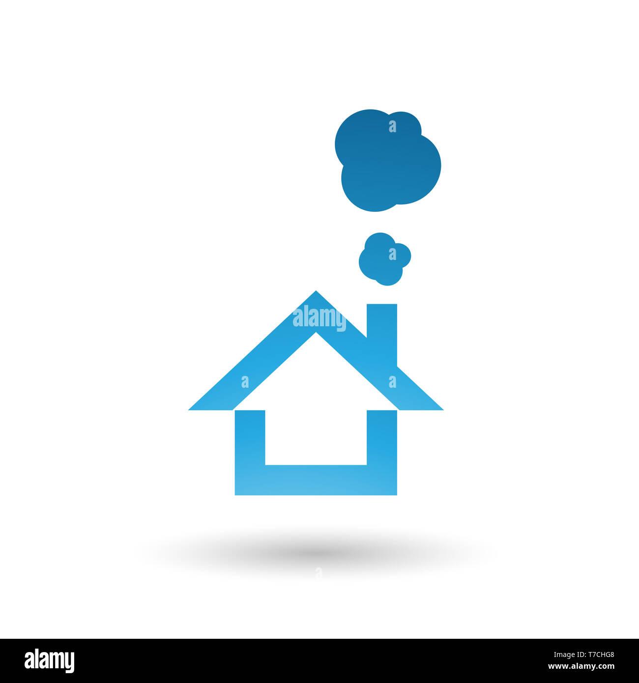 Vector Illustration de Blue House et l'icône de fumée isolé sur fond blanc Banque D'Images