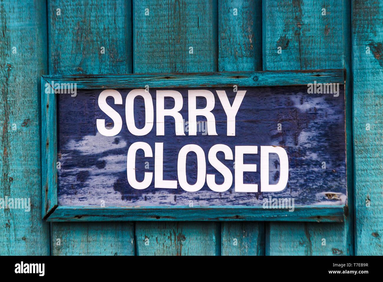 Désolés signe clos. Photo Stock