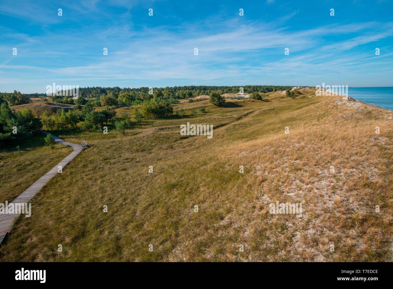 Vue de l'Hohe Duene, Poméranie occidentale Lagoon Salon National Park, Fischland-Darss-Zingst, Mecklembourg-Poméranie-Occidentale, Allemagne, Europe, Hohe Düne Banque D'Images