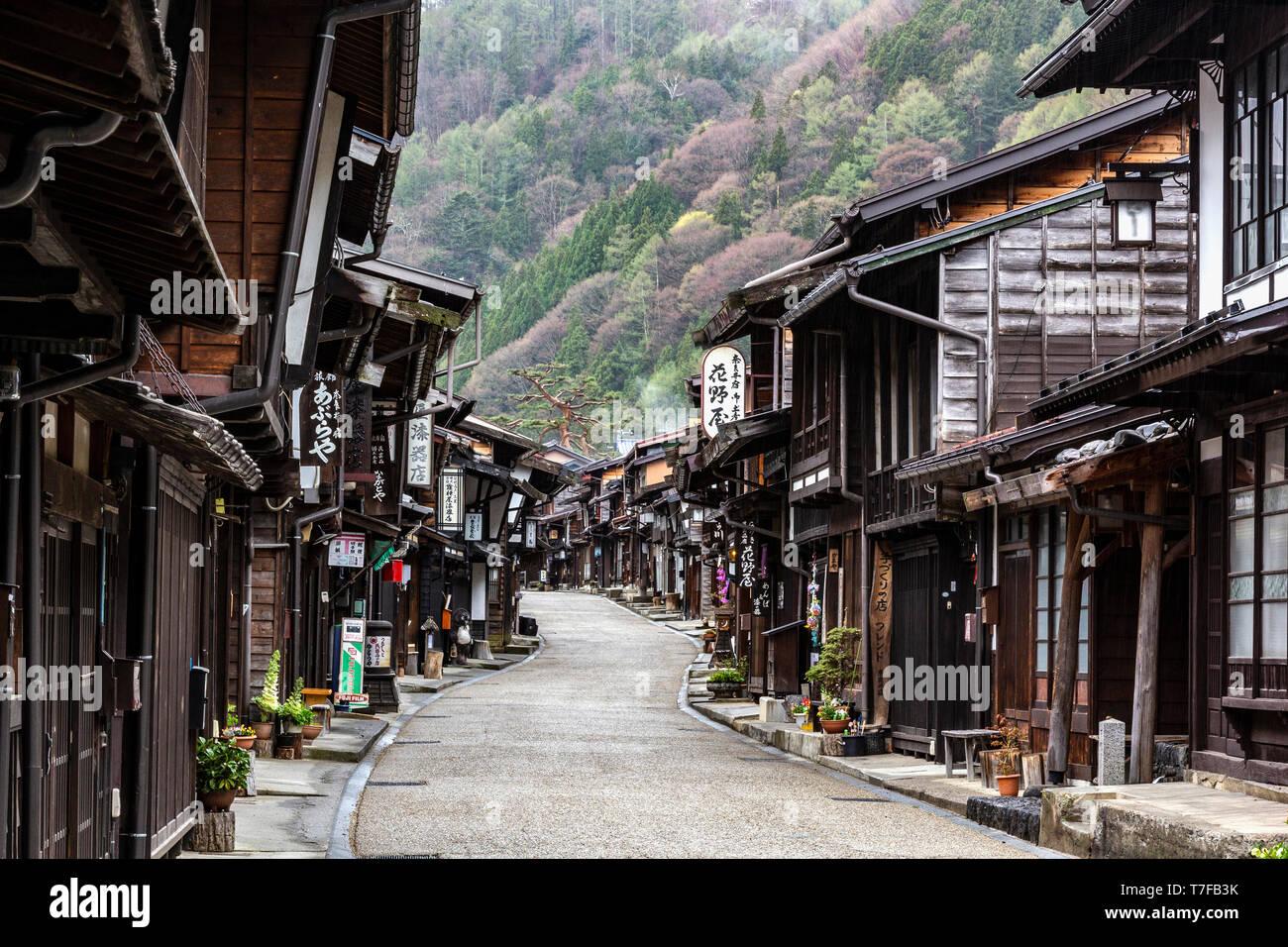 Nakasendo à Narai Juku - les autoroutes Gokaido ont été établis par le shogunat Tokugawa comme deux routes pour seigneurs féodaux daimyo et leur retaine Photo Stock