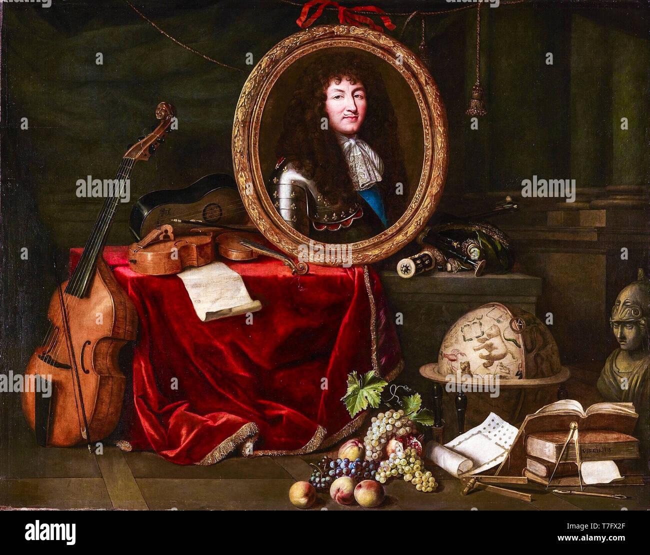 Louis XIV, le protecteur des arts et des Sciences. Allégorie de 1672, peinture de Jean Garnier, après Claude Lefèbvre, ch. 1670-1672 Banque D'Images