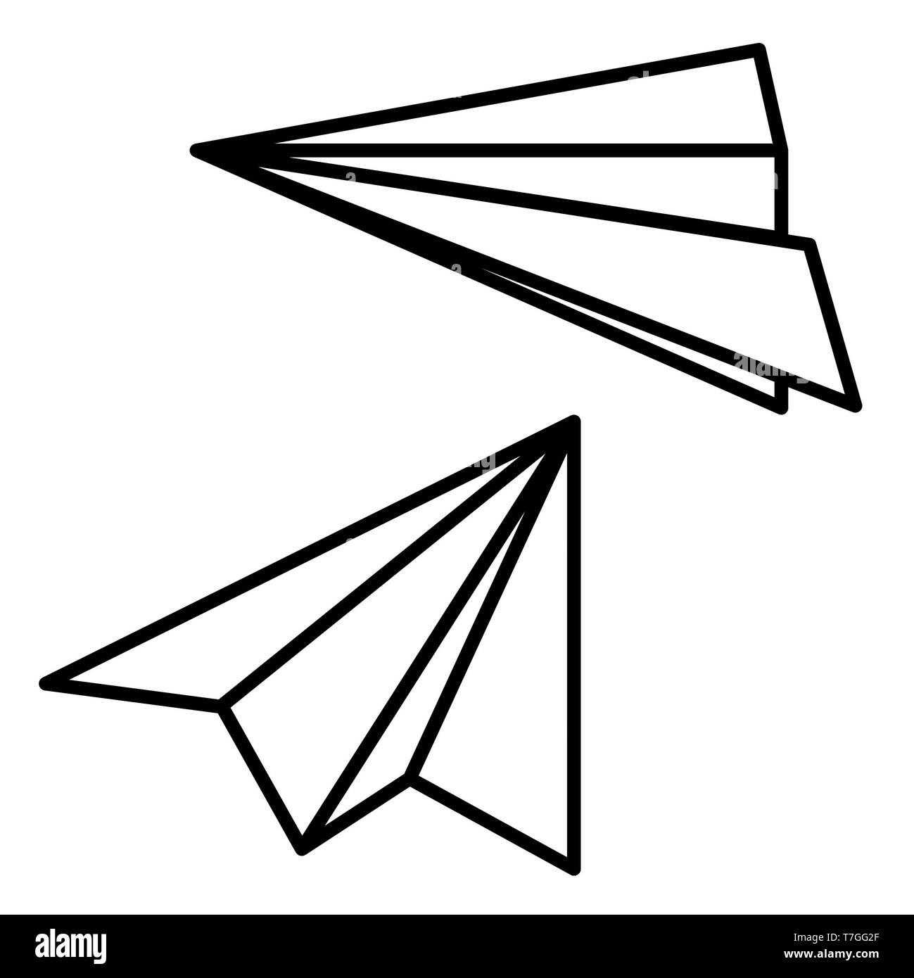 Avion en papier Icône, illustration vectorielle, l'éducation Contours Photo Stock