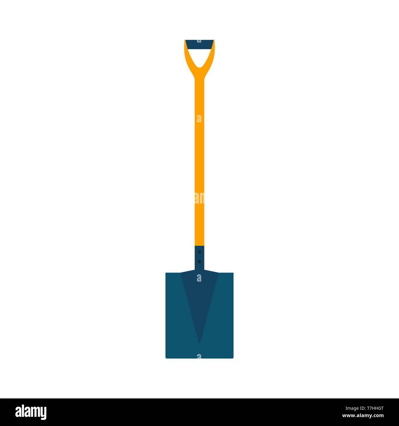 Nettoyage de la route extérieure pelle vecteur symbole icône. Industrie de l'enseigne agricole spade outil creuser l'équipement de télévision Photo Stock