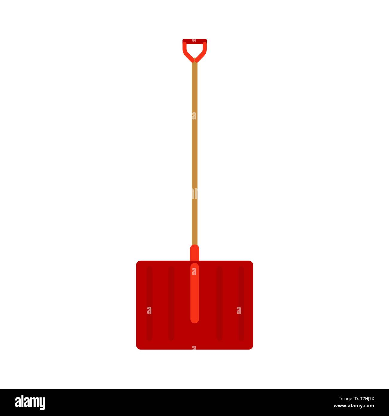 Pelle à neige neige outdoor rouge nettoyer retirer de creuser. Une icône vecteur poignée rue trottoir road. Cosse d'équipement Photo Stock