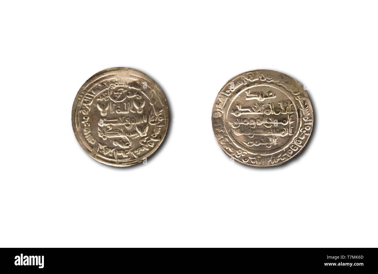 Califat de Cordoue dirhams d'argent, règle d'Al-Hakam II période, 962 AC. Isolé Photo Stock