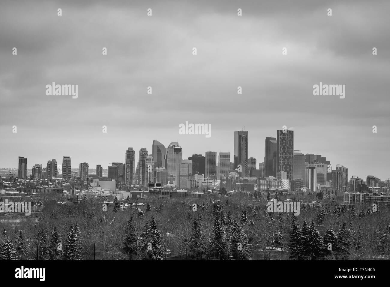 Quartier des affaires de Calgary monochrome skyline Banque D'Images