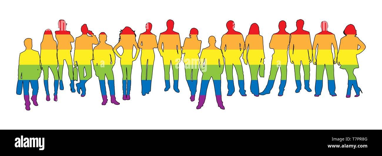 Silhouettes d'hommes et femmes en couleurs LGBT Photo Stock