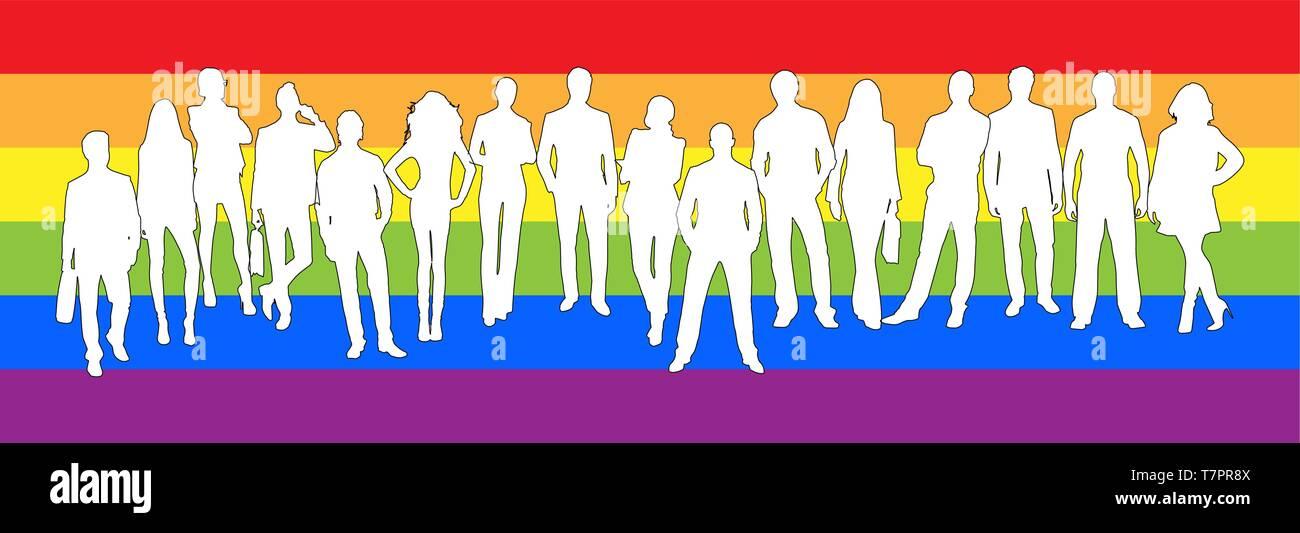 Silhouettes de femmes et des hommes dans l'arrière-plan des couleurs de la communauté LGBT Photo Stock