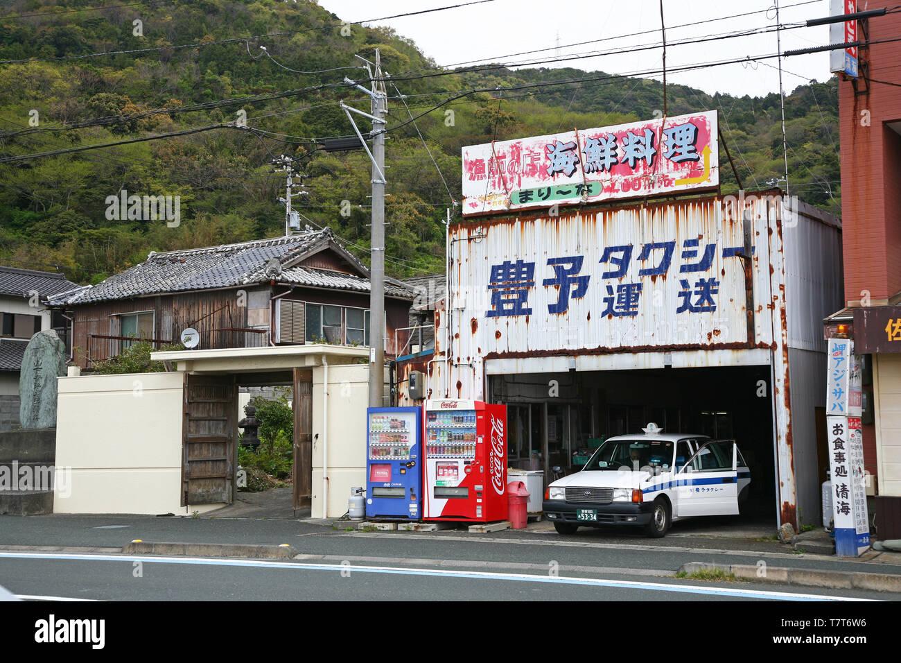 Ancienne station de taxi à Misaki Japon Photo Stock