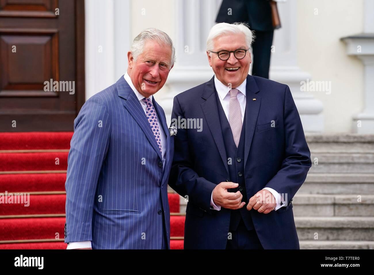 Berlin, Allemagne. 07Th Mai, 2019. 07.05.2019, Berlin, Charles Philip Arthur George, Prince de Galles (Prince de Galles) et duc de Cornouailles (duc de Cornouailles), le Prince Charles pour de courtes au château de Bellevue. Le Prince Charles est l'héritier du trône du Royaume-Uni. Il est le fils aîné de la reine Elizabeth II et le Prince Philip. L'arrivée de la visite royale à la réception par le Président fédéral Frank-Walter Steinmeier. Utilisation dans le monde entier   Credit: dpa/Alamy Live News Banque D'Images