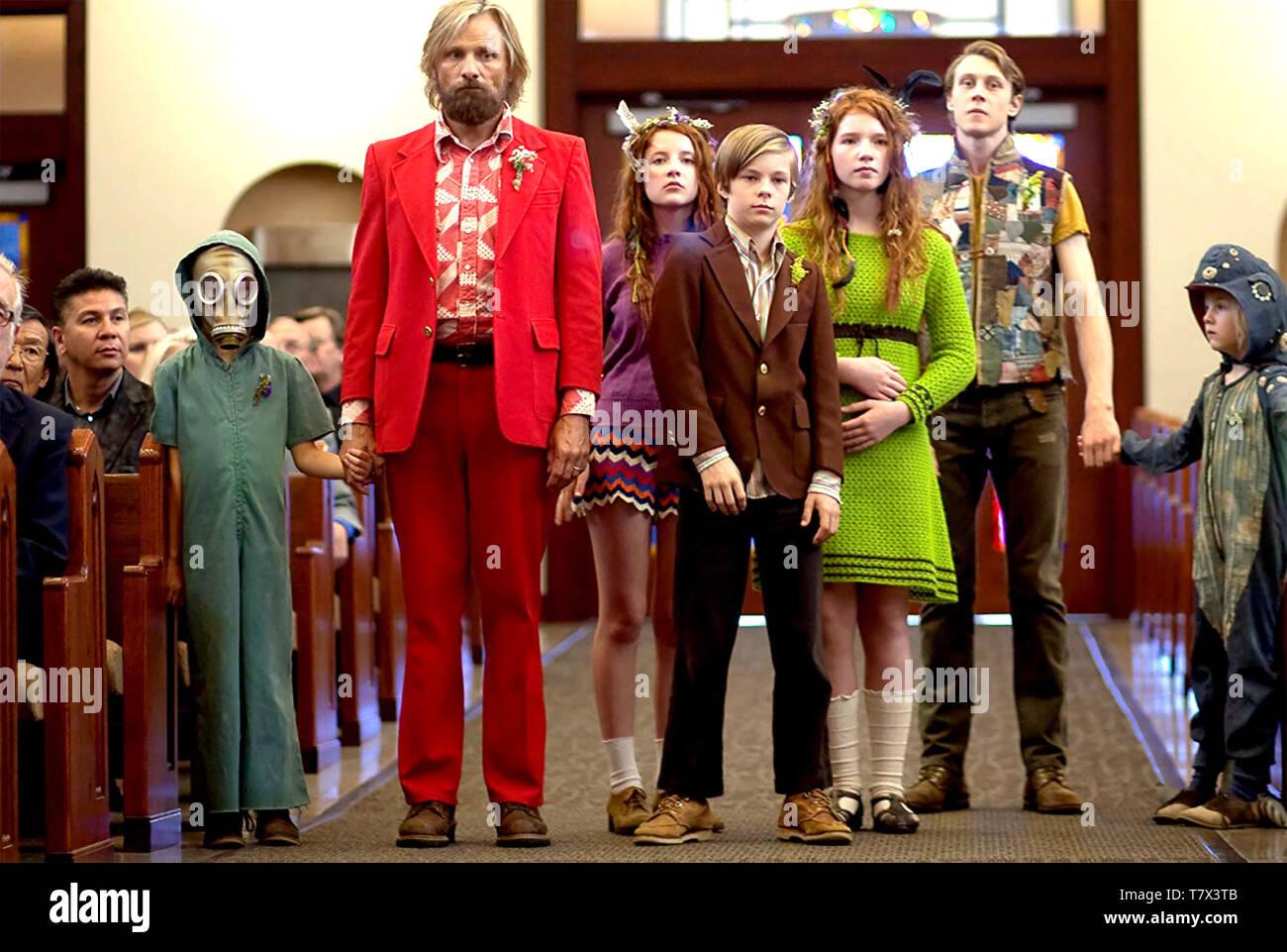 Fantastique capitaine 2016 Electric City Entertainment film avec Viggo Mortensen comme Bern Photo Stock