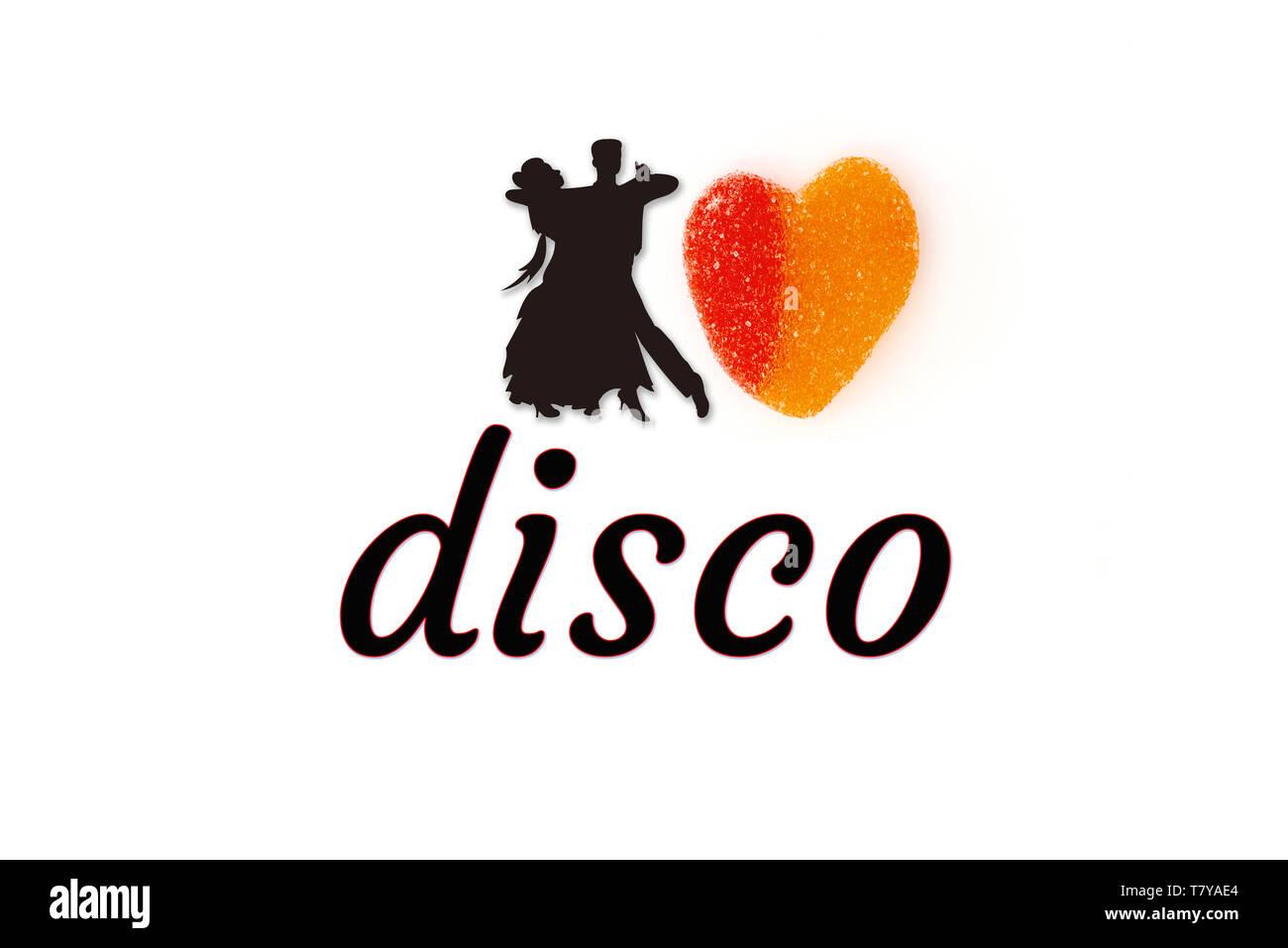 I love disco avec la silhouette noire de la danse de couple et le sweet heart Photo Stock