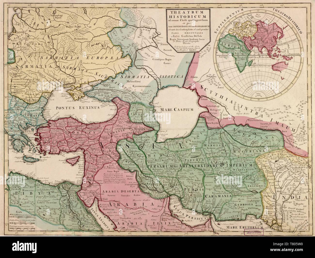 Guillaume Delisle, l'Empire romain d'une carte, 400 ANNONCE Photo Stock