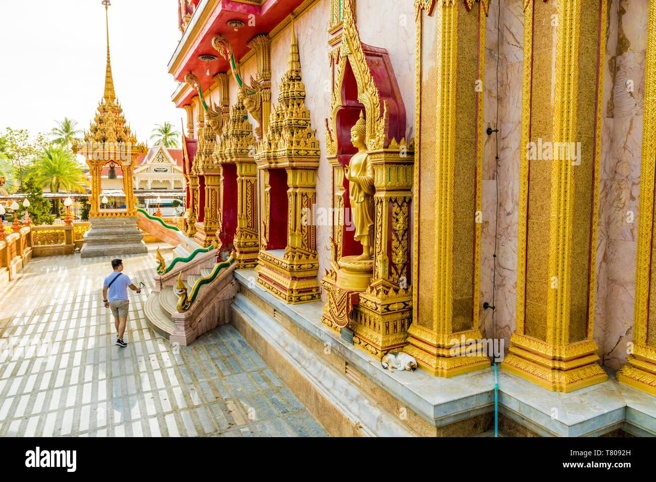 Au Wat Chedi Temple de Chalong à Phuket, Thaïlande, Asie du Sud, Asie Banque D'Images