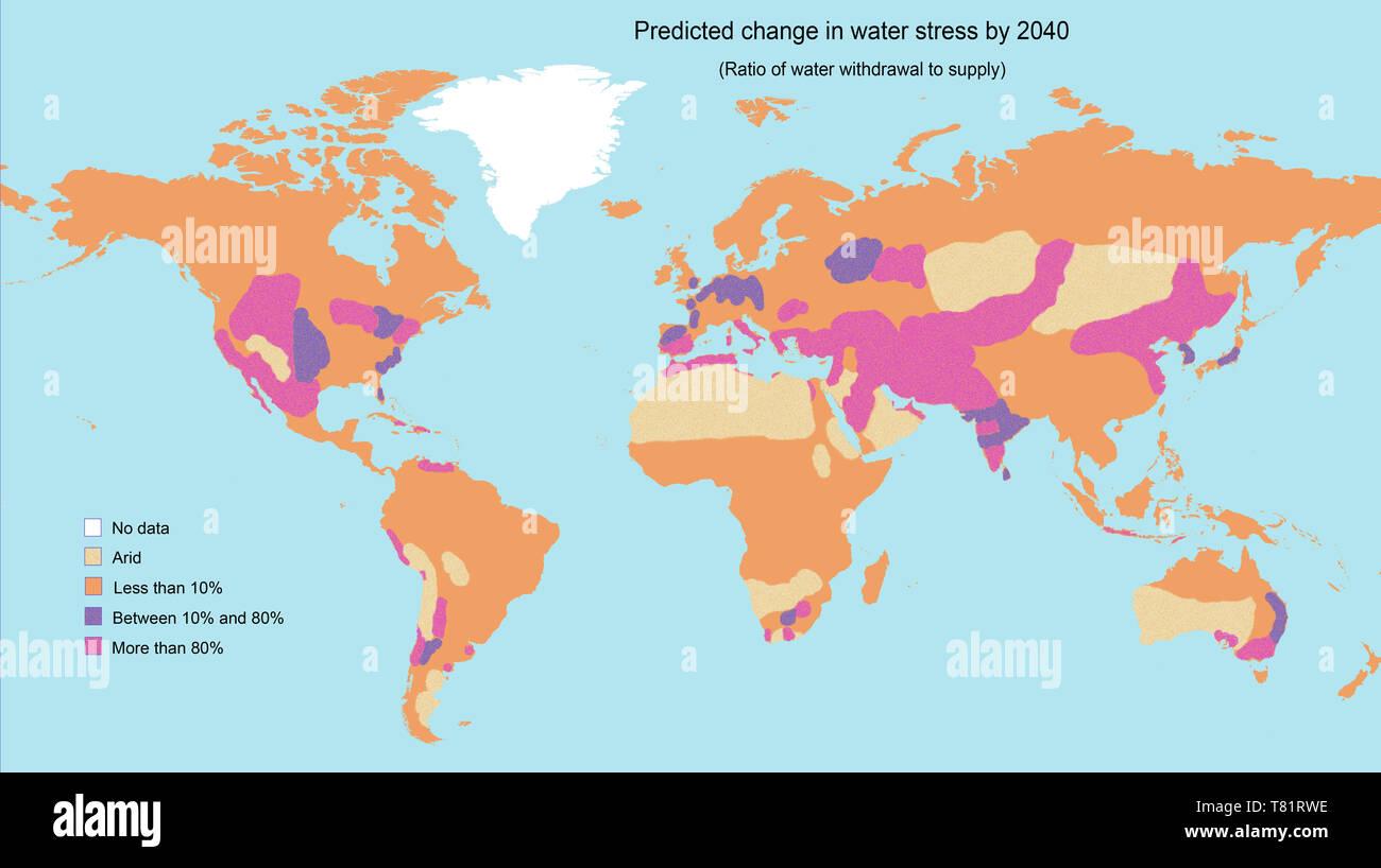 Le stress hydrique d'ici 2040, la carte Photo Stock