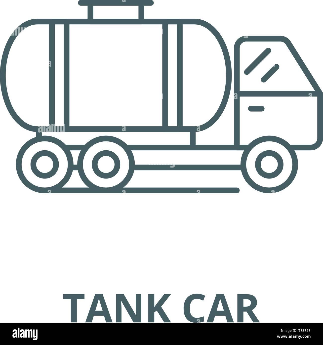 L'icône de la ligne du vecteur de wagons-citernes, concept linéaire, contour affiche, symbole Illustration de Vecteur