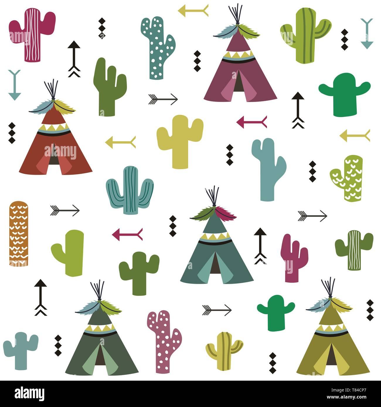 Tente et motif cactus Illustration de Vecteur