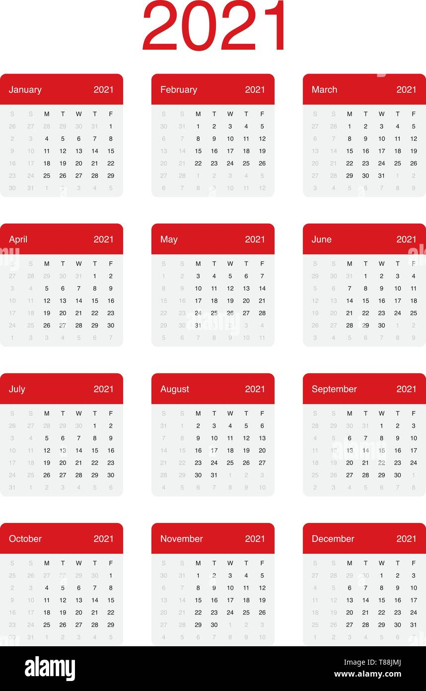 Calendrier 2021 Minimal propre vecteur Conception simple avec une