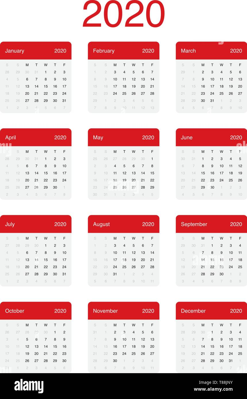 Calendrier Semaines 2020.Calendrier 2020 Minimal Propre Vecteur Conception Simple