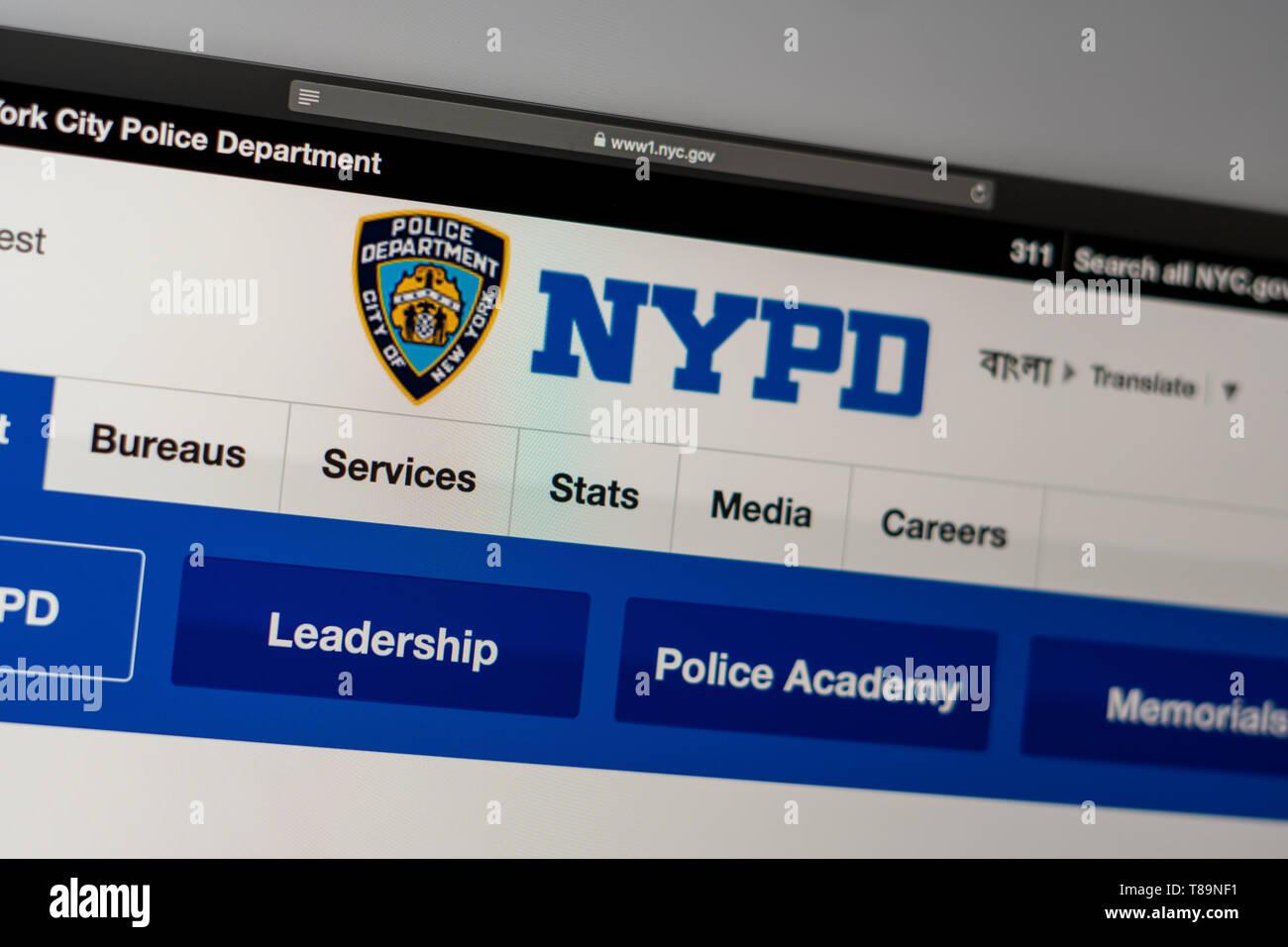 Miami / USA - 05.11.2019: New York Police Department Page d'accueil du site. Close up of logo NYPD. Peut être utilisé comme illustration pour les médias ou autres webs Photo Stock