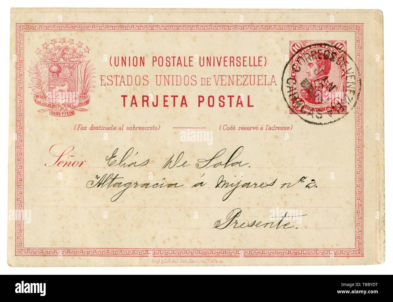 Caracas, Venezuela - 13 janvier 1895: Carte postale historique vénézuélien avec châssis à motifs rouge rose, imprimé stamp Simon Bolivar, 10 CENTIMOS Photo Stock