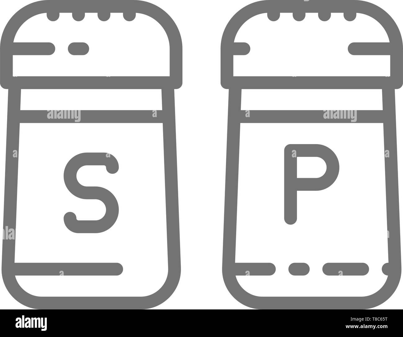 Sel et poivre, épices icône ligne. Isolé sur fond blanc Illustration de Vecteur