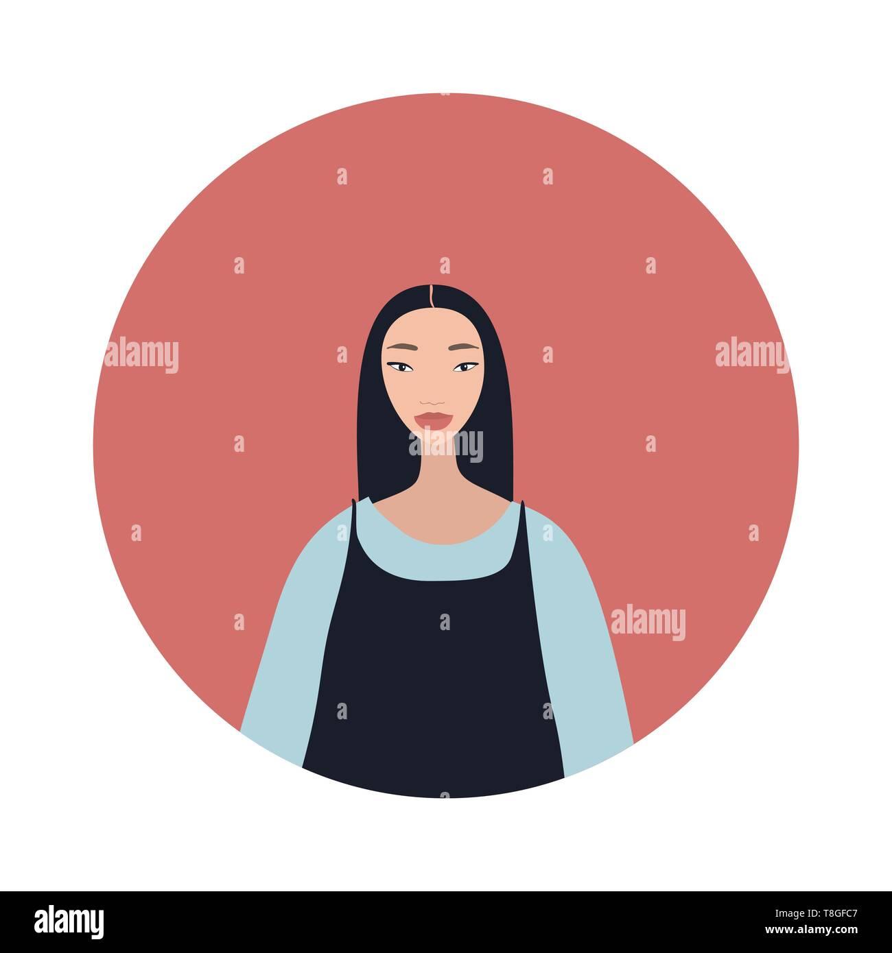 Jeune femme asiatique aux cheveux noirs regarde Belle élégante Illustration de Vecteur
