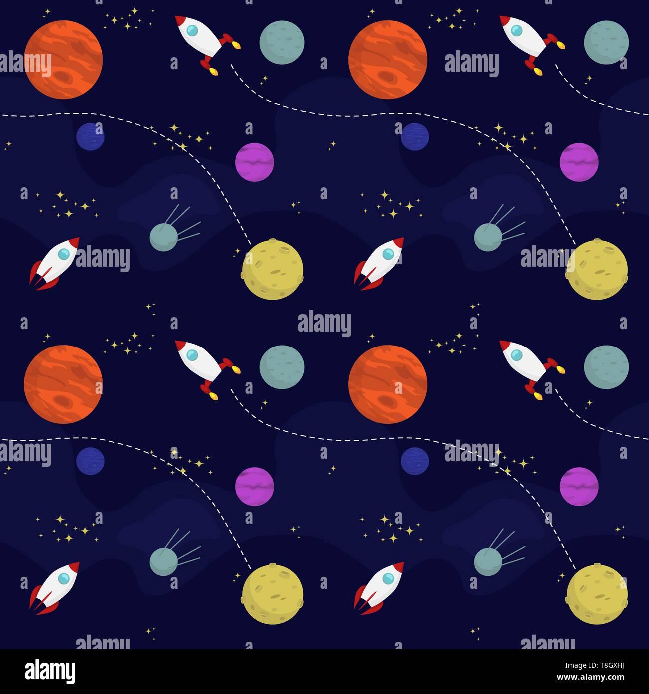 Télévision transparente modèle d'espace vectoriel avec les planètes et vaisseaux spatiaux voyageant dans l'univers Illustration de Vecteur