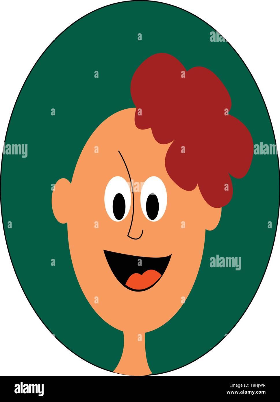 De Clipart Le Visage D Un Garcon Dans Un Haut Vert Qui A Une Encolure Fermee Conception De Touffes De Cheveux Attaches Ensemble Au Centre De La Tete Scenario Couleur Image Vectorielle Stock
