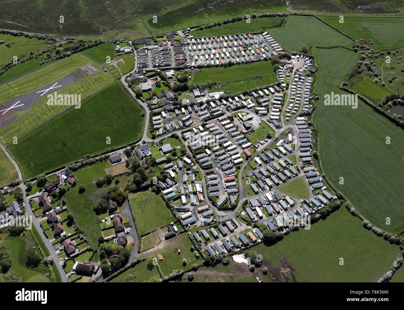Vue aérienne de Bank Lane Caravan Park & Sea View Caravan Park, Warton, près de Preston, Lancashire Photo Stock