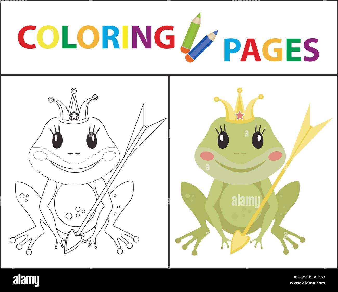 Coloriage Grenouille Avec Parapluie.La Page De Coloriage Pour Les Enfants La Princesse