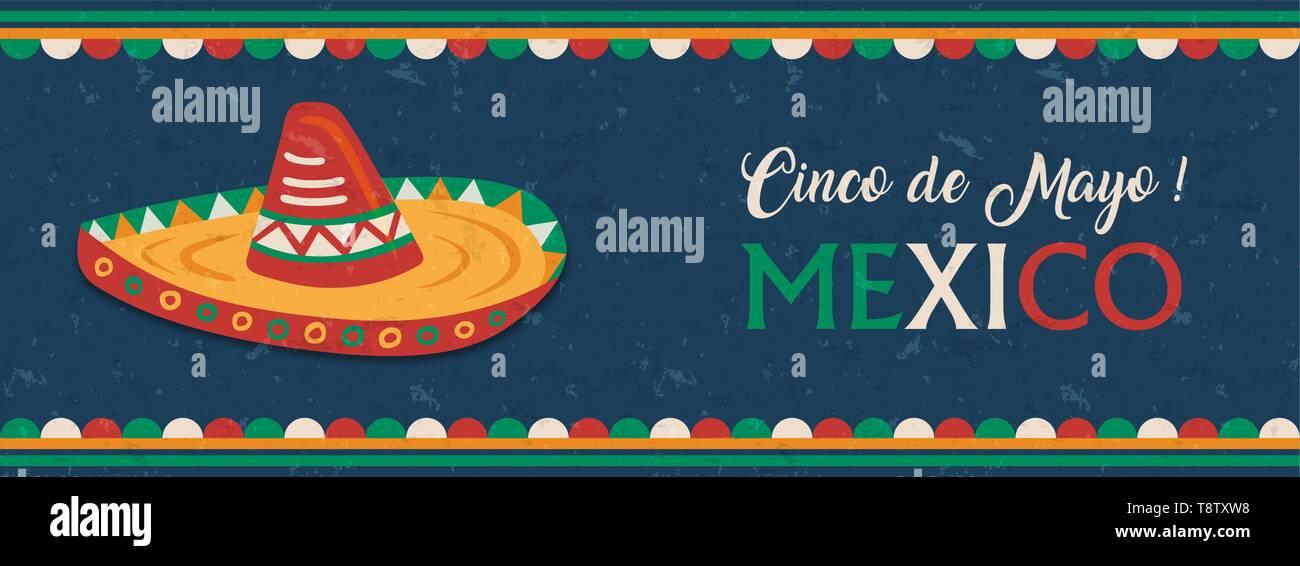 Le Cinco de Mayo mexicain pour la bannière web fête de l'indépendance. Le Mexique traditionnel mariachi hat et d'un drapeau couleur décoration. Photo Stock