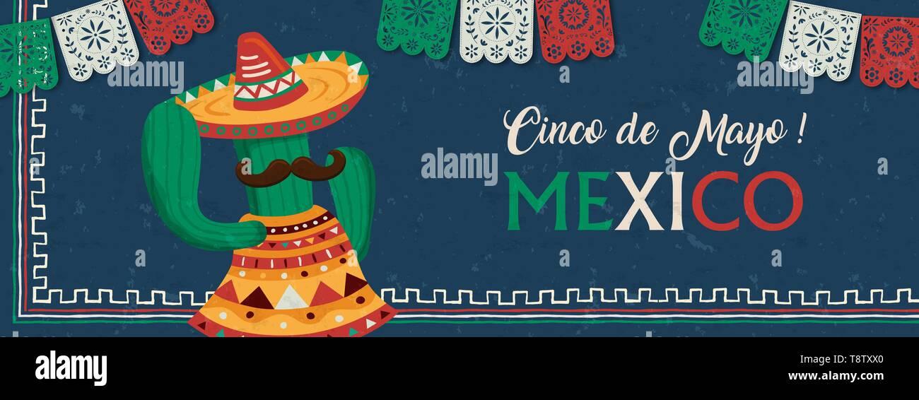 Le Cinco de Mayo au Mexique pour la bannière web fête de l'indépendance. Funny cartoon cactus mexicain mariachi avec chapeau et moustache. Photo Stock