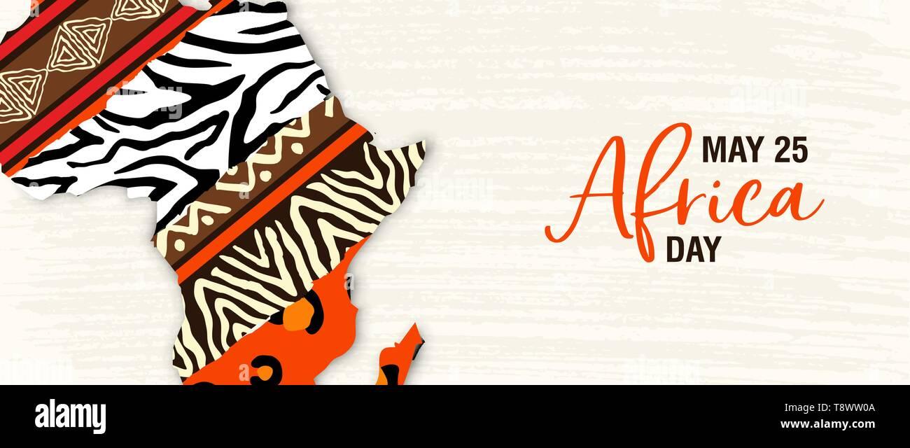 La Journée de l'Afrique pour l'illustration de la bannière 25 mai célébration. Carte du continent africain avec l'art ethnique et wild animal print de textures. Photo Stock