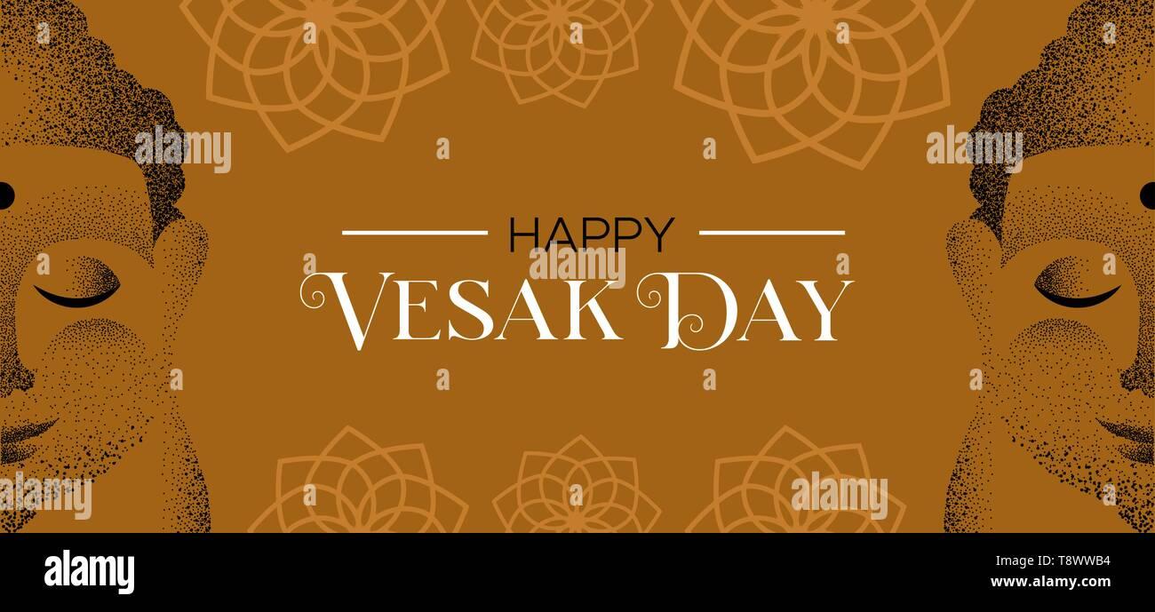 Heureux Jour du Vesak illustration. Bouddha visage fait de particules et de fleur de lotus pour fond célébration hindoue traditionnelle. Photo Stock
