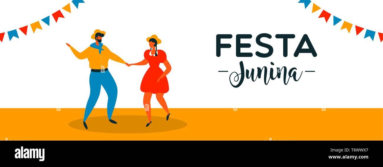 Festa Junina banner illustration pour la célébration de brésilien. Heureux couple danse juin traditionnel. Photo Stock