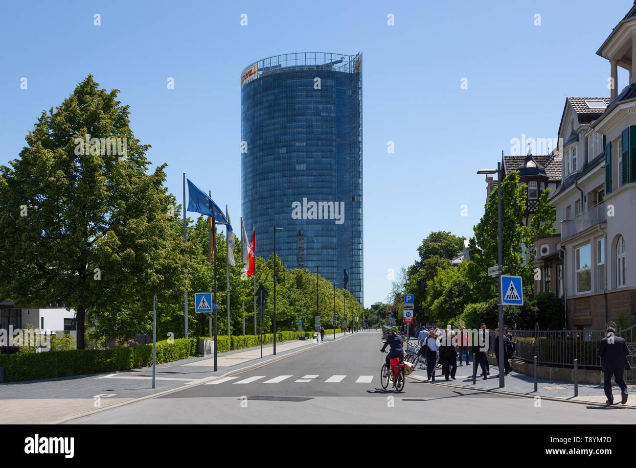 La Post Tower, Deutsche Post DHL, siège de Bonn, Allemagne. Banque D'Images