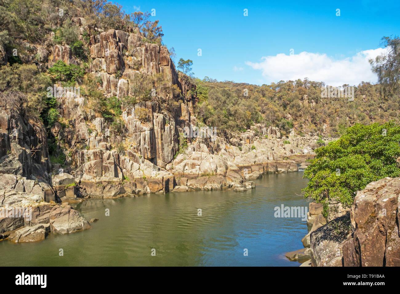 Cataract Gorge, dans la section inférieure de la rivière South Esk à Launceston, en Tasmanie, est l'une des principales attractions touristiques de la région. Photo Stock