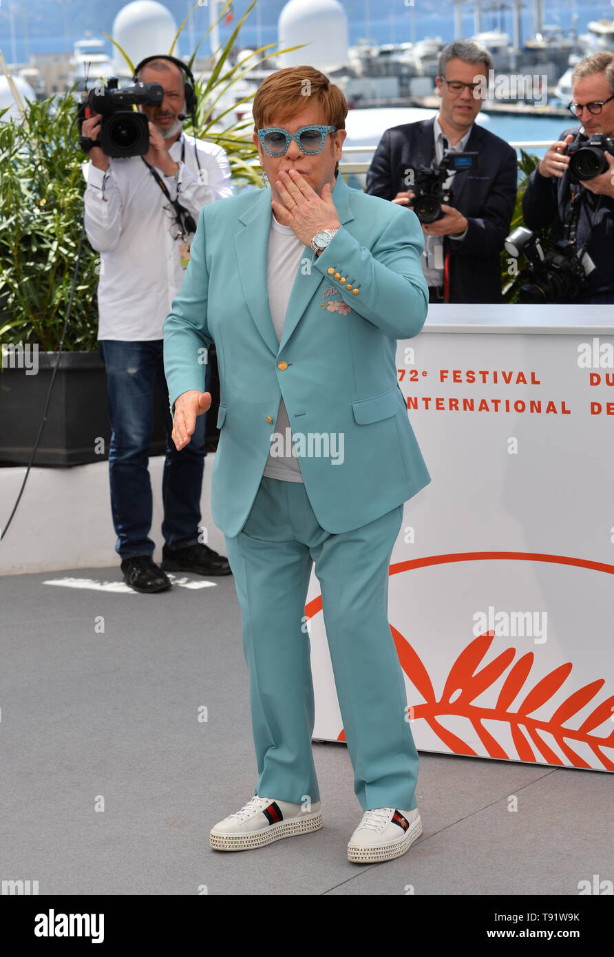 Cannes, France. 16 mai, 2019. CANNES, FRANCE. 16 mai 2019 : Elton John à la photocall pour la 'Rocketman' à la 72e Festival de Cannes. Photo Credit : Paul Smith/Alamy Live News Banque D'Images