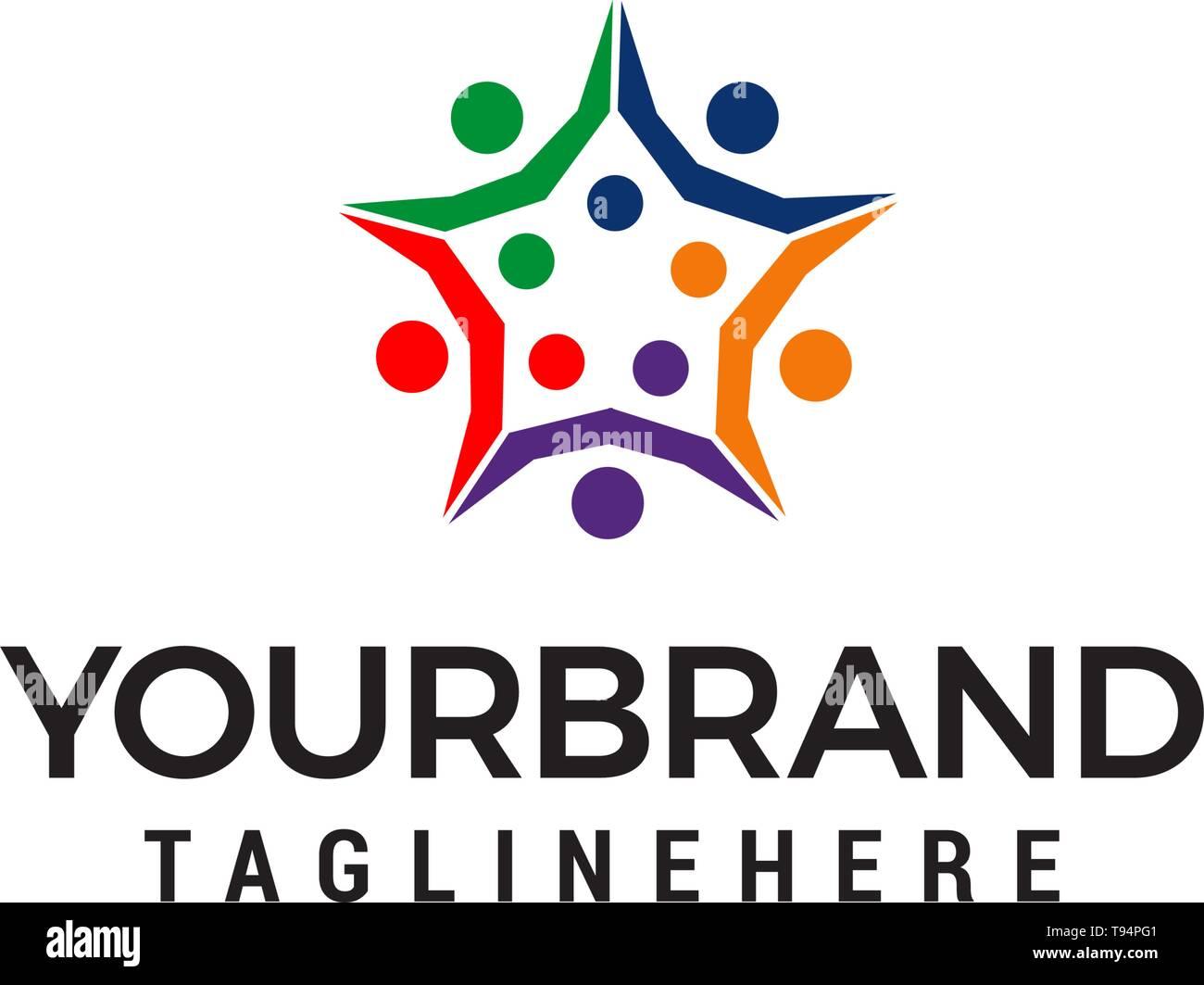 Les gens d'affaires 4 étoiles design logo vector modèle concept Illustration de Vecteur