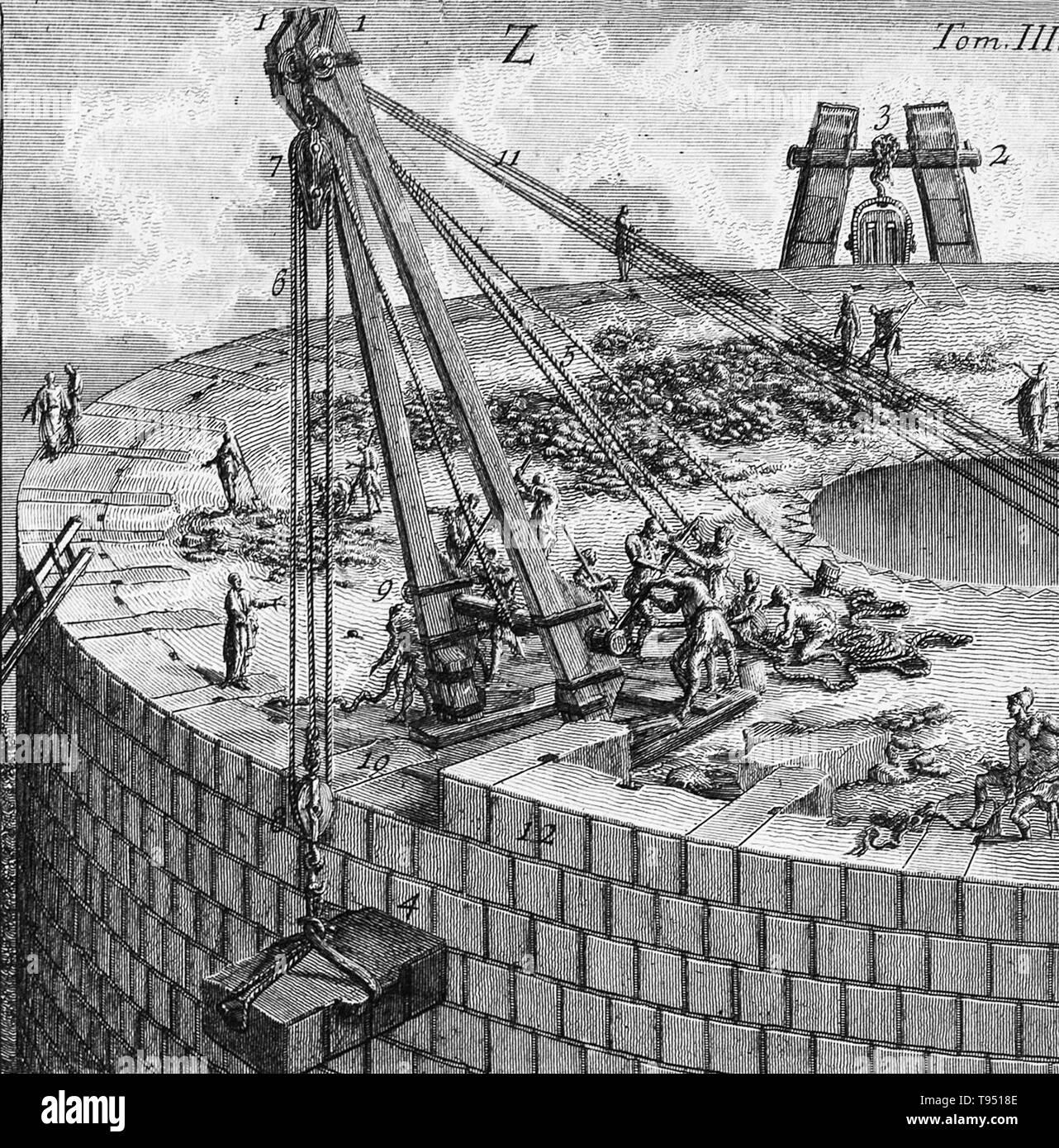 Moyens par lesquels les grands blocs de travertin et marbre ont été levées au cours de la construction du grand tombeau de Caecilia Metella, de: Le Antichita Romane (antiquités romaines), 1756-57. Giovanni Battista Piranesi (Italien, 1720 - 1778) Bien que Piranesi était au travail sur l'Antichita Romane, le résultat d'années de recherches sur les compétences en génie des Romains, les premières menaces de prééminence romaine ont été entendus. Au début des années 1750, certains chercheurs français et britanniques et les architectes ont commencé à affirmer que les Romains n'étaient que de simples imitateurs des Grecs, en vertu de laquelle tous les arts ha Photo Stock