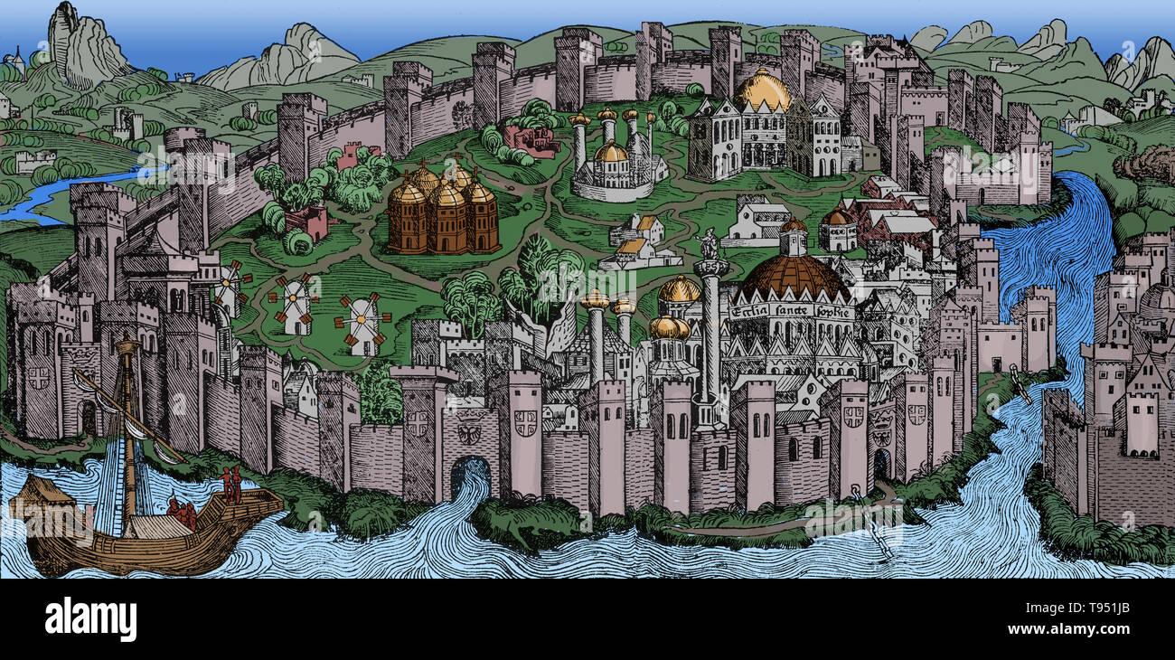 Illustration de Hartmann Schedel's, Buch der Chroniken und Geschichten, 1493. Constantinople était la capitale de l'Empire romain, l'Amérique et l'Empire Ottoman. Il a été fondé en l'an 330, à l'ancienne Byzance comme la nouvelle capitale de l'Empire romain par Constantin I. La ville était la plus grande et la plus riche ville européenne du Moyen Âge. Photo Stock