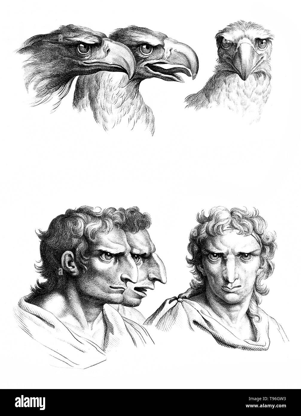 L'objectif de physiognomy est à juger les gens en fonction de caractéristiques du visage. Charles Le Brun (24 février 1619 - 12 février 1690) était un peintre français, théoricien d'art, décorateur et peintre de la cour de Louis XIV. Banque D'Images