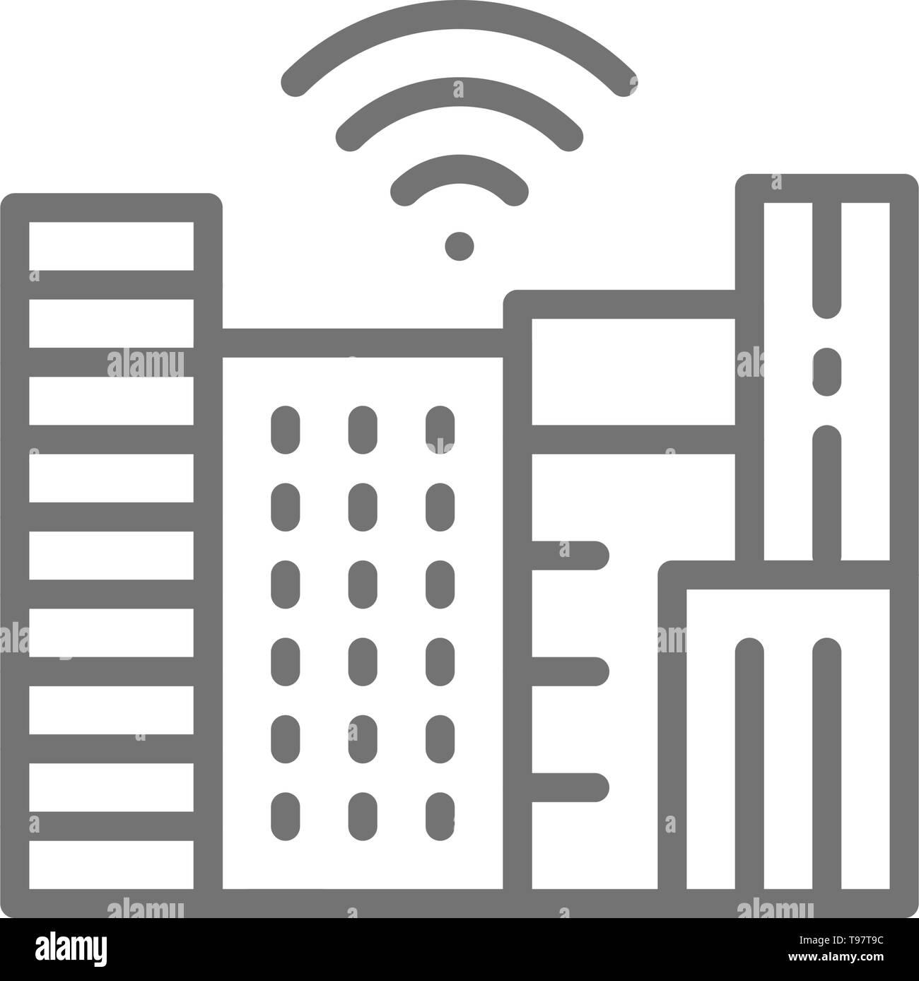 Ville intelligente avec la technologie Wi-Fi zone, l'icône de la ligne de ville. Photo Stock